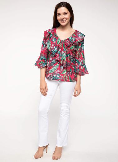 DeFacto Volan Detaylı Tropik Desenli Bluz Pembe